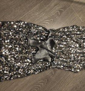 Платье серебро с блестками
