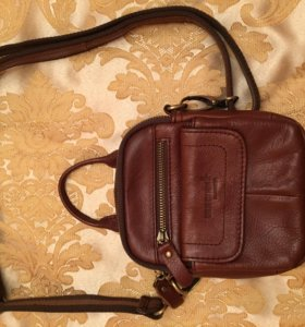 Коричневая кожаная сумка со съемным плечевым ремне