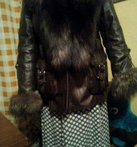 Зимняя куртка размер 56 мех чернобурка