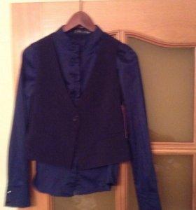 Новый школьный жилет+ блуза