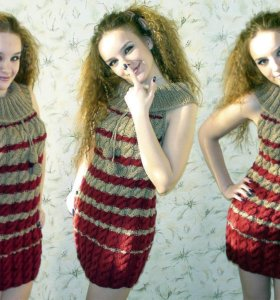 Вязаное полушерстяное платье, размер с 38 по 44