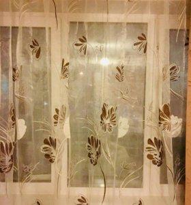 Занавеска на окно,готовая,новая-Тюль из органзы