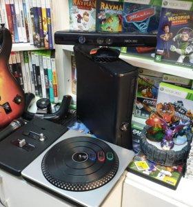 Комплект-XBOX360, KINECT, GuitarHero, DJhero+игры