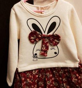 Теплое платье для девочки р.92-104 новое