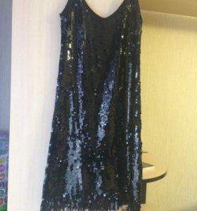 Платье-комбинация двойная пайетка,стрейч