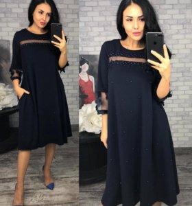 Платье темно-синее 52-54