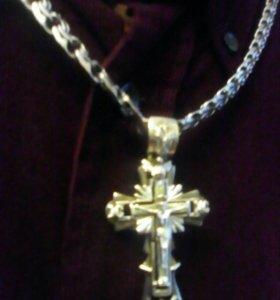 Огромная серебрянная цепь с крестом 73 грамма