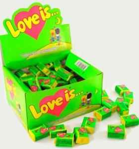 """Жвачки """"Love is..."""" 100 штук в блоке."""