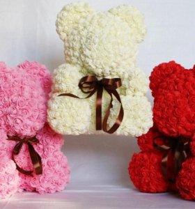 Мишки из роз ручной работы