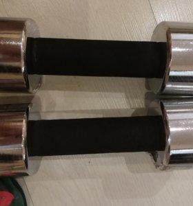 Новые хромированные гантели с мягкой ручкой