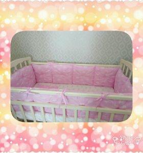 Комплект бортиков в кроватку для девочки(новый)