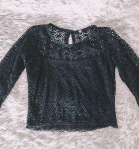 Трикотажная кружевная блуза