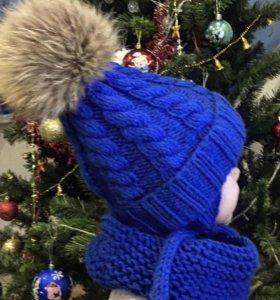 Детская шапка , снуд, шарф , Детский комплект