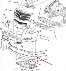 Юбка ( молдинг) переднего бампера Cadillac CTS II