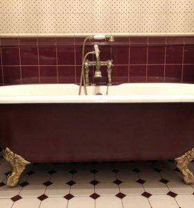 Чугунная ванна на золотых ножках 170*75 +смеситель