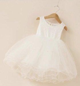 Платье белое нарядное 90см новое