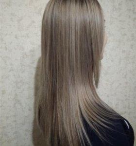 Мелирование+тонирование волос