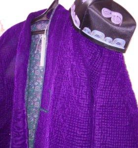 Национальный мужской халат чапан р.56 с тюбитейкой