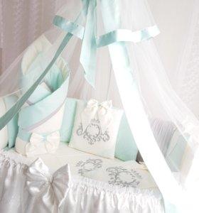 Набор в круглую кроватку STELLA+конверт на выписку
