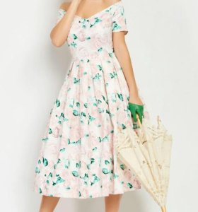 ретро платье розы