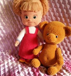 Ручная работа крючком Кукла Маша и ее друг медведь