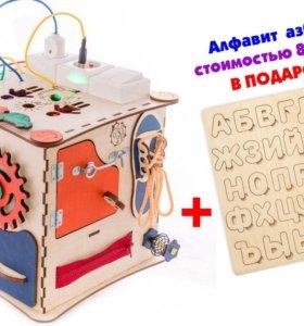 Бизиборд Бизикуб 25х25 см. Развивающий куб