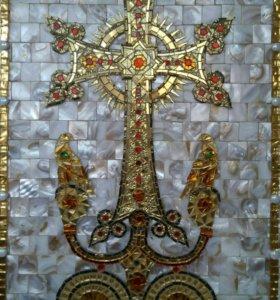 Армянский крест(цветущий крест) из мозаики
