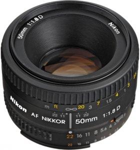 Объектив Nikon 50mm f1.8 с широкой диафрагмой