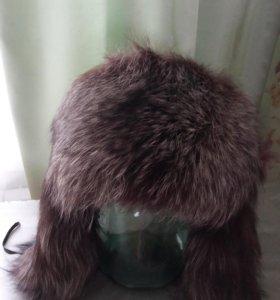 Шапка ушанка из чернобурки