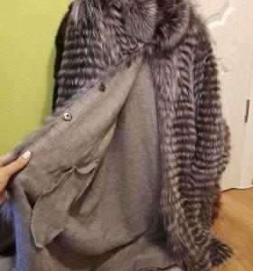 Пальто на кашемире чернобурка