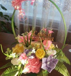 мыло ручной работы корзины цветов