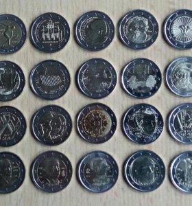 Юбилейные 2 евро разных стран 2004-2019 от 170р.