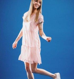 Прозрачное платье из шёлка-шифона