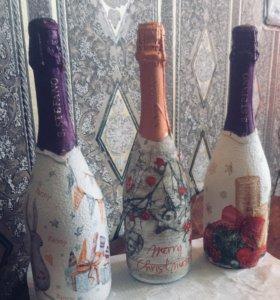 Оформление праздничных бутылок