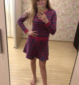 Тёпленький костюм (кофточка+юбка)