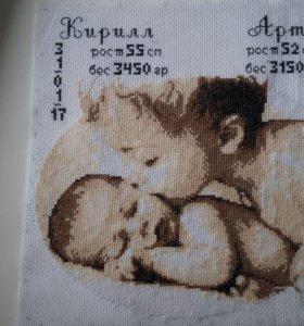 Метрика для новорожденных, вышивка крестом