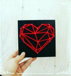 Сердце в технике стрингарт
