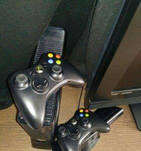 Xbox 360 slime + kinect + 2 джойстика и 5 игр