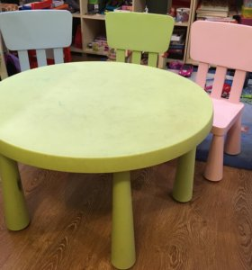 Стол детский + 3 стула (икеа)