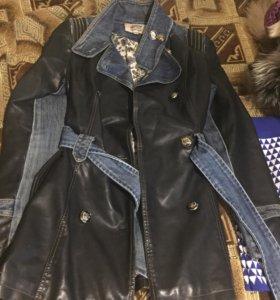 Пиджак с вставками джинса