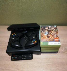 XBOX 360 (Консоль, два джойстика, Kinect, 11 игр)