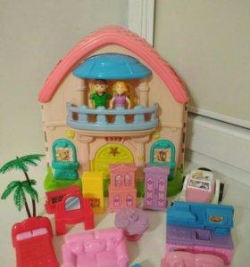 Домик для кукол раскладной с мебелью