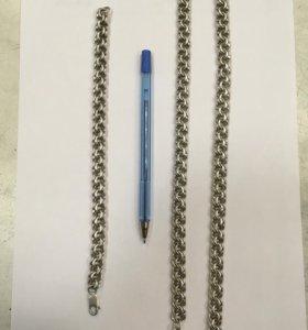 Серебряная цепь и браслет( торг)