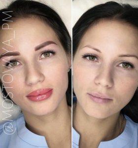 Перманентный макияж (брови, губы)