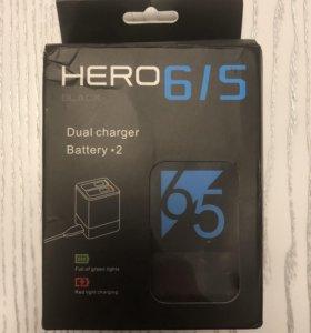 Зарядка с двумя аккумуляторами для GoPro Hero 6/5