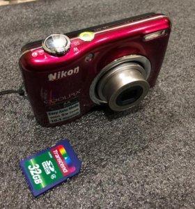 Nikon Coolpix L23 с чехлом и флешкой 32