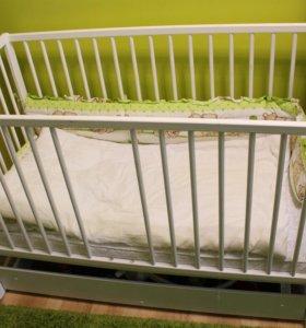 Кровать детская с маятником+матрас. Торг