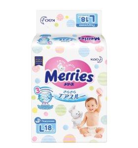Подгузники Merries L, 18 шт