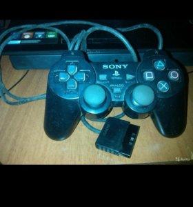 Джойстик на PS2, блок питания, кабель на тв