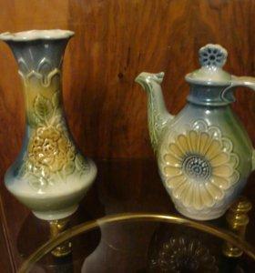 чайник и ваза керамические
